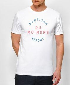Teeshirt Homme Partisan du moindre effort Blanc by Monsieur TSHIRT