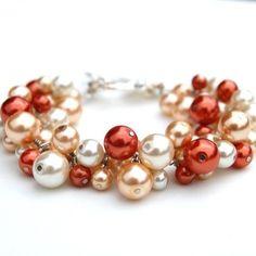 Burnt Orange, Champagne and Ivory Pearl Cluster Bracelet - Wedding look