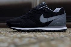 Nike Air Waffle Trainer Leather – Black – Grey – White