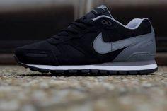 Nike Air Waffle Trainer Leather   Black   Grey   White