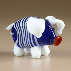 Cute Blue Pig Glass Figurine