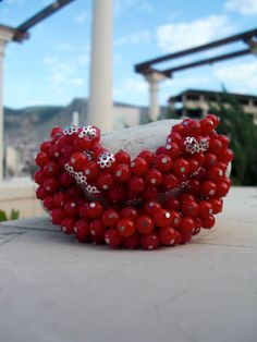 Red Smile Currant necklace Elegant Flamenco necklace by Nimmet