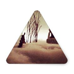Winter Time Fog (Christmas Time) Triangle Stickers