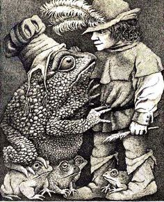 Probably kne of the most disturbing fairy tales ever written. Illustration from The Juniper Tree and Other Tales from Grimm, by Maurice Sendak Maurice Sendak, Gravure Illustration, Children's Book Illustration, Book Illustrations, Fable, Frog Art, Tinta China, Gnome, Fairytale Art