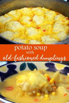 This potato soup and dumplings recipe is an old-fashioned classic straight out of Grandma's recipe box! It's a delicious comfort food soup! Drop Dumplings, Dumplings For Soup, Potato Dumplings Recipe, Crock Pot Freezer, Crock Pot Soup, Freezer Meals, Old Fashioned Dumplings Recipe, Great Recipes, Favorite Recipes