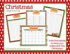 Free Christmas Organizing Printables: Santa's Supply List, Santa's Secret Gift List, Cards to Send list and December calendar.
