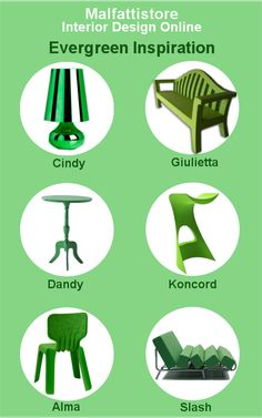 A green selection of products we love and sell on http://www.malfattistore.it/ #design #green #inspiration #polyvore