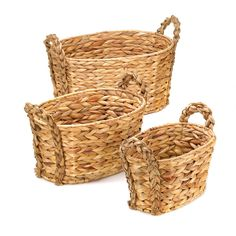 Set of Three Woven Straw Oval Nesting Baskets with Handles