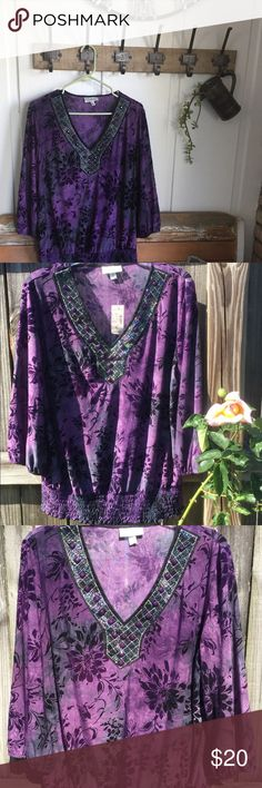 BEAUTIFUL and SHIMMERY Women's Blouse Very Elegant Blouse by Dressbarn. V-neck with opaque and purple beads adorning the front. Material designed with flowers. Sleeves gather to puff just below the elbow. Gathers at the waist.  Purple/Black/Gray 91% Polyester/5% Nylon/4% Spandex Hand Wash/Line Dry/Cool Iron XL Dress Barn Tops Blouses