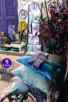 Almofadas e guardanapos, tons de azuis