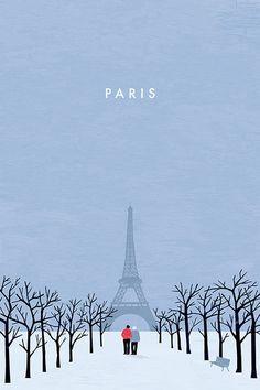 Paris Travel Poster by Katinka Reinke #vintageposters