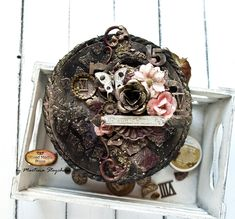 Martina altered this small piece of wood with lots of Finnabair media, mechanicals and flowers. Liquid Acrylic Paint, Inka Gold, Art Basics, Iron Orchid Designs, Chalk Ink, Distressed Painting, Paper Clay, Mixed Media Canvas, Mail Art