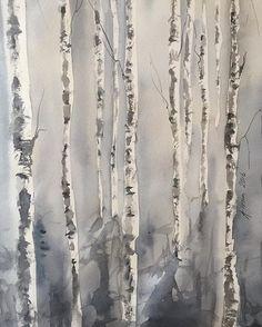 Lite fler björkar  More birches #björk #björkar #träd #tree #trees #watercolor #watercolour #akvarell #konst #art #painting  #birch #birches #aspentrees Watercolor Trees, Birch, Anna, Abstract, Board, Artwork, Instagram Posts, Painting, Drill Bit