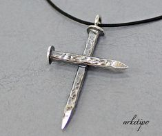 Sterling silver Cross Necklace with black cord. by Arketipo Cross Jewelry, Stone Jewelry, Crystal Jewelry, Silver Jewelry, Jewlery, Handcuff Necklace, Men Necklace, Metal Necklaces, Cross Necklaces