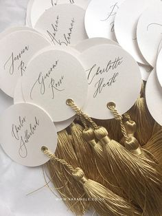 Round place cards / Calligraphy place cards / luxury place cards with gold eyelets and silky gold tassels wedding details fonts LUXE Wedding Place Cards / Calligraphy place cards / Luxury guest name cards