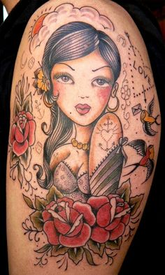 I like the Latina influence on this traditional tattoo!