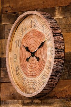 Faux Tree Section & Bark Wooden Wall Clock More