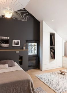 Simple room: ideas for decorating a room with few features - Home Fashion Trend Dream Spaces, Small Space Interior Design, Home, Home Bedroom, Bedroom Design, Bedroom Inspirations, Home Deco, Modern Bedroom, Interior Design