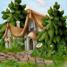 / Studio Background Images, Cartoon Background, Purple Flowers Wallpaper, Cottage Art, House Drawing, Fantasy Art, Backdrops, Illustration Art, Clip Art