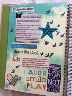 Katie's smash book page 9. Seize the day.