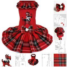 Dog dress pattern dog clothes PDF Girl dog clothes dress For dog pet #dogclothes #pattern #petclothes #pdfpattern #sewingpattern #tartandress #smalldogfashion #smalldog