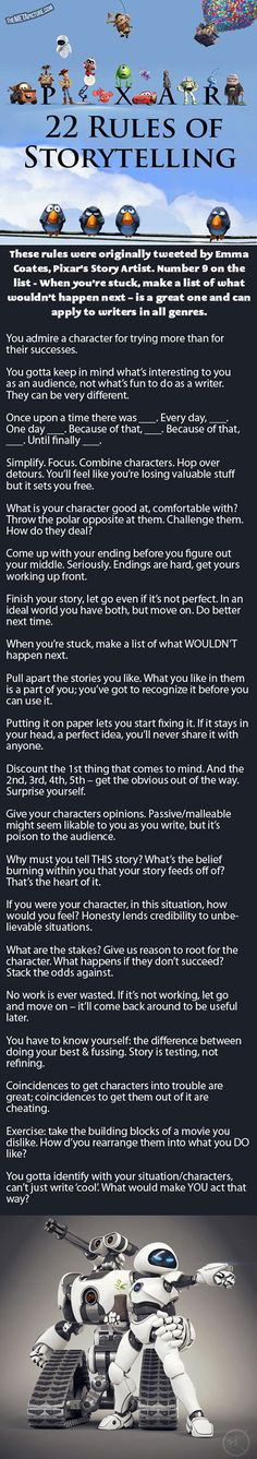 Here are Pixar's 22 rules of storytelling that make a perfect film.