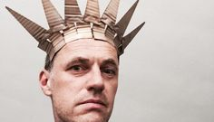 David Bielander in his silver and gold crown designed to look like cardboard.