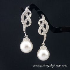 Pearl Earrings Wedding Jewelry Bridesmaid Gift Bridal Jewelry White OR Cream Swarovski Round Pearl Drop Earrings Ribbon Bows Cubic Zirconia
