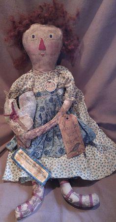 Primitive Folk Art Doll OOAK Raggedy Ann Mustard Seed Fat Hen Farm Cloth Calico #NaivePrimitive #FatHenFarm