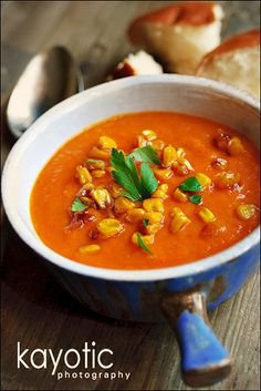 Sweet Potato Pepper Soup. This looks like something to make when I have a little time on my hands...