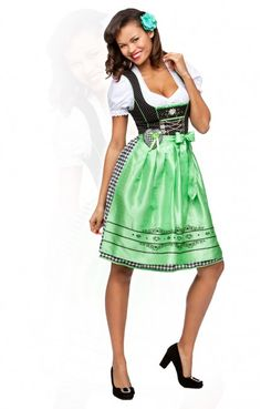 Oktoberfest mid length dirndl 2pcs. Stephanie apple green 60 cm