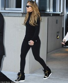 Keeping it casual: Jennifer Lopez went back to basics on Friday morning as she traded in h...