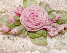 pink ribbonwork roses lace cuff by Lambs and Ivy Designs