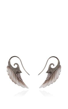 Fly Me To The Moon Botswana Agate Wing Earrings by Noor Fares for Preorder on Moda Operandi