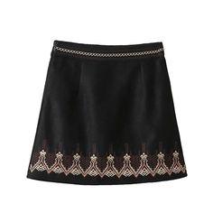 BONGOR LUSS Skirts Womens High Waist Corduroy A-Line Vintage Mini Skirt Casual Autumn Winter Geometric Embroidery Short Skirt