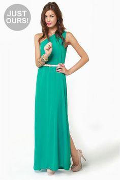 Long One-Shoulder Teal Dress with Skinny White Waist Belt and Side Slit | Lulus
