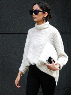 white knit and black pants | HarperandHarley