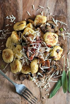 Toasted Gnocchi with Sautéed Mushrooms, Crispy Bacon and Caramelized Spring Onions