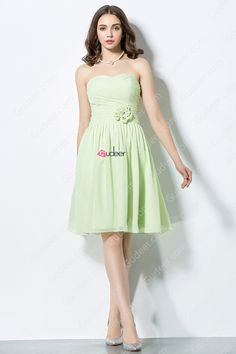 Pretty Lime Green Pleated Chiffon Bridesmaid Dress with Lovely Flower