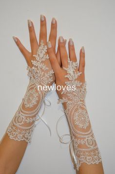 wedding gloves ivory long lace gloves, ivory lace glove, Unique lace glove, gauntlets free ship on Etsy, $27.81 AUD