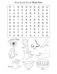 Word Search Puzzle Body Parts | Download Free Word Search Puzzle Body Parts for kids | Best Coloring Pages