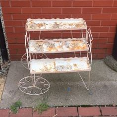 3 Tier Metal Plant Stand Cart Vintage as Pictured | eBay