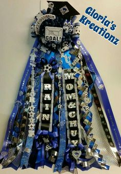 Senior soccer blue&black single flower mum. @ Gloria's Kreationz  on Facebook