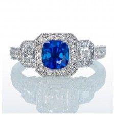 2 Carat Princess Cut Trilogy Sapphire and Diamond Vintage Halo Engagement Ring on 10k White Gold