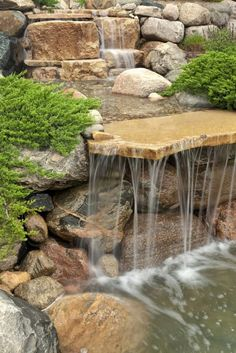 It's not difficult to create a waterfall pond feature rather than the conventional pond. With this small waterfall pond landscaping ideas you will inspired to make your own small waterfall on your home backyard. Waterfall Landscaping, Garden Waterfall, Pond Landscaping, Waterfall Building, Waterfall Design, Small Waterfall, Backyard Water Feature, Ponds Backyard, Garden Ponds