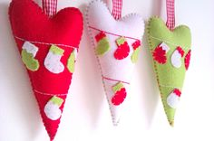 Hearts Christmas Decoration - Set Of 3 - Ornaments/favors/decor on Luulla