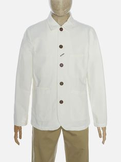 Universal Works Bakers Jacket in Ecru Canvas Universal Works, Iron Decor, Designer Clothes For Men, Dry Cleaning, 30 Degrees, Shirt Dress, Canvas, Bleach, Fabric
