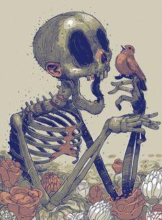 Skeleton illustration by Aryz