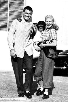 Cary Grant and Ginger Rogers with their monkey friend during the filming of Monkey Business, 1952.