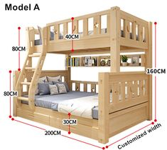 Online Shop Louis Fashion Children Bunk Bed Real Pine Wood with Ladder Stair Drawers Safe and Strong Bunk Bed Rooms, Bunk Beds With Stairs, Kids Bunk Beds, Stair Drawers, Wooden Bunk Beds, Bunk Bed Plans, Bunk Bed Designs, Girl Bedroom Designs, Bathroom Kids